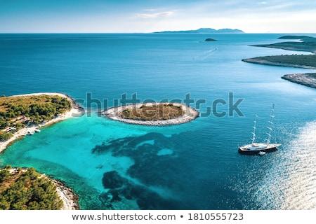 Marina Hırvatistan görmek plaj ağaç manzara Stok fotoğraf © borisb17