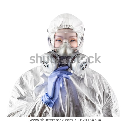 Chinese vrouw pak gasmasker stofbril Stockfoto © feverpitch