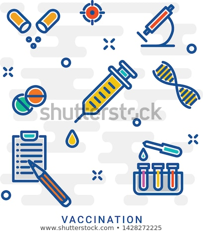Injection And Bacterium Vector Sign Thin Line Icon Stock photo © pikepicture