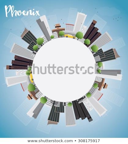 Schets phoenix skyline Blauw gebouwen exemplaar ruimte Stockfoto © ShustrikS