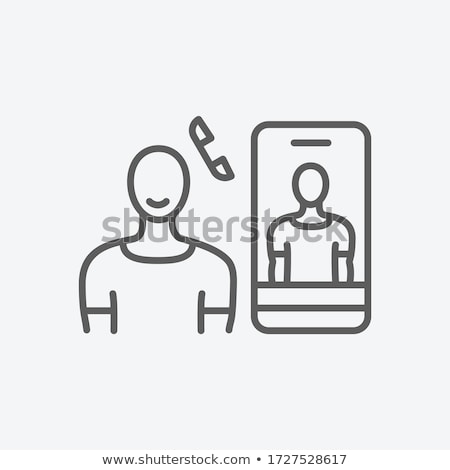 Romantische telefoongesprek icon vector schets illustratie Stockfoto © pikepicture