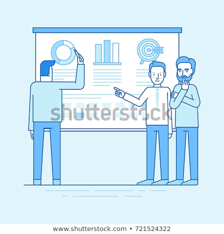Speaker with Statistic Icon Vector Outline Illustration Stock photo © pikepicture
