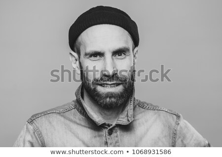 Tevreden mannelijk model baard snor camera Stockfoto © vkstudio