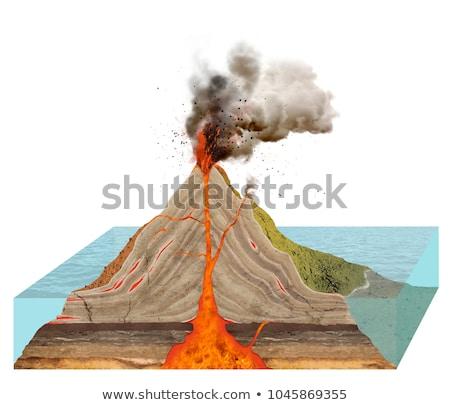 Diagrama volcán blanco ilustración naturaleza diseno Foto stock © bluering