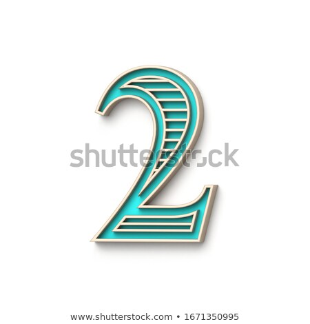 Classic old fashioned font Number 2 TWO 3D Stock photo © djmilic