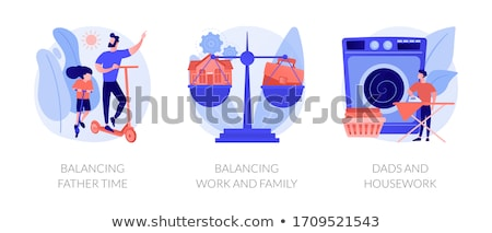 Apa karrier család egyensúly absztrakt vektor Stock fotó © RAStudio