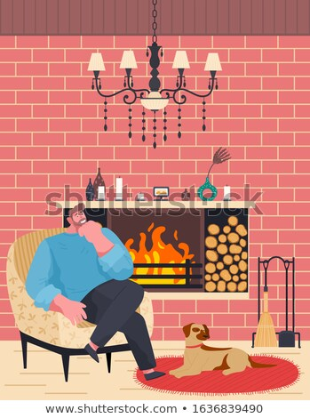 Man Relaxing with Doggy near Fireplace Vector Stock photo © robuart