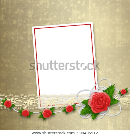 Stockfoto: Card For Invitation Or Congratulation With Buttonhole And Lace