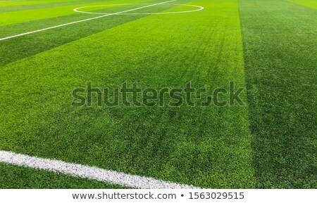 Green artificial grass turf soccer football field with white and Stock photo © boggy