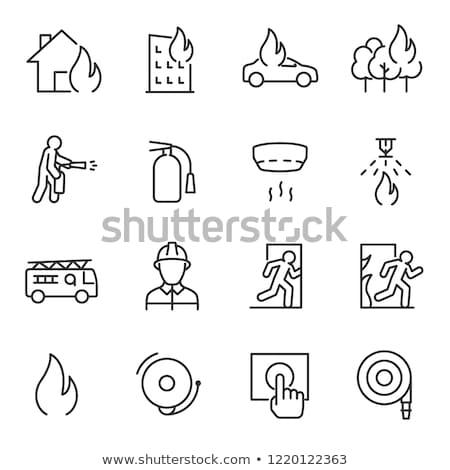 Ognia wyjście piktogram proste czarny ikona Zdjęcia stock © evgeny89