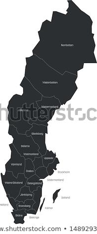 Svédország vidék térkép egyszerű fekete sziluett Stock fotó © evgeny89
