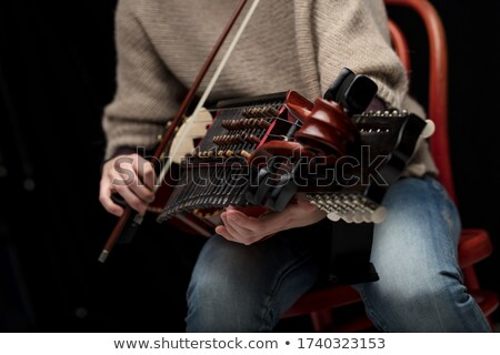 Woman playing folk music on a nyckelharpa Stock photo © Giulio_Fornasar