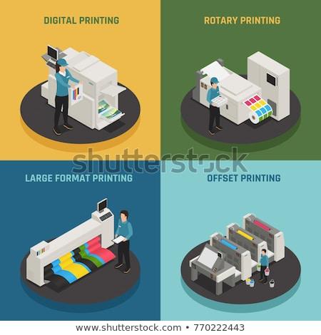 Nyomtatás szolgáltatás izometrikus ikon szett vektor szkenner Stock fotó © pikepicture