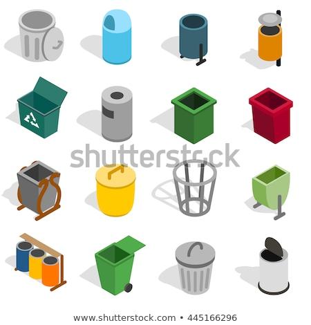 Pojemnik śmieci kosza izometryczny ikona wektora Zdjęcia stock © pikepicture
