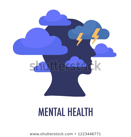 Raining Lightning Cloud In Silhouette Mind Vector Stock photo © pikepicture