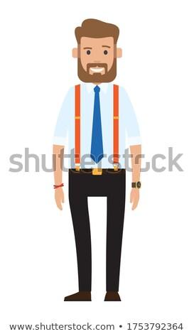 Cartoon ilustracja przystojny młodych brodaty biznesmen Zdjęcia stock © robuart