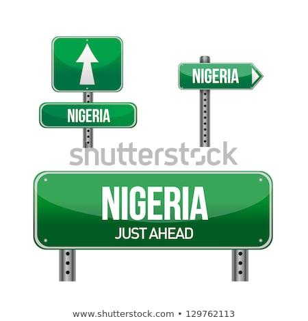 Нигерия · шоссе · знак · зеленый · облаке · улице · знак - Сток-фото © kbuntu