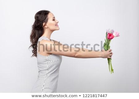 model gives present stock photo © zastavkin