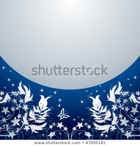 Blue floral background flower vector. Nature with curl and border. Christmas illustration. Stock photo © Hermione