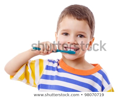 少年 · 歯ブラシ · 孤立した · 白 - ストックフォト © dacasdo