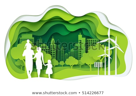 green eco background with leafs and globe stock photo © barbaliss