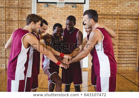 basketbol · takım · beş · oyuncular · turuncu · top - stok fotoğraf © mammothis
