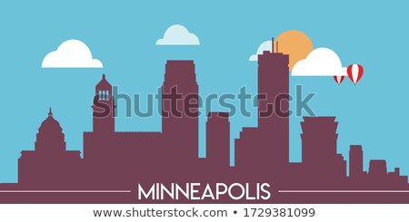 cartoon · skyline · silhouet · stad · Minnesota · USA - stockfoto © blamb