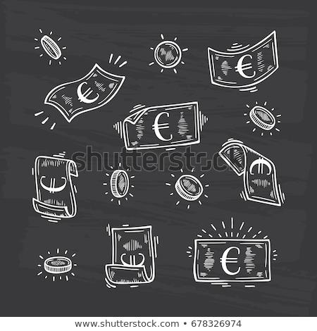 Krijttekening geld symbolen Blackboard achtergrond ruimte Stockfoto © bbbar