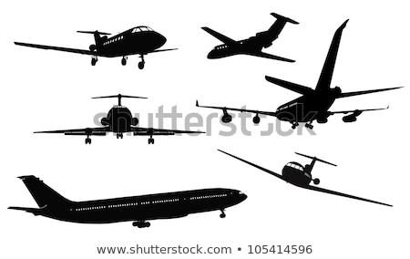 Jato silhueta conjunto avião aeroporto branco Foto stock © mechanik
