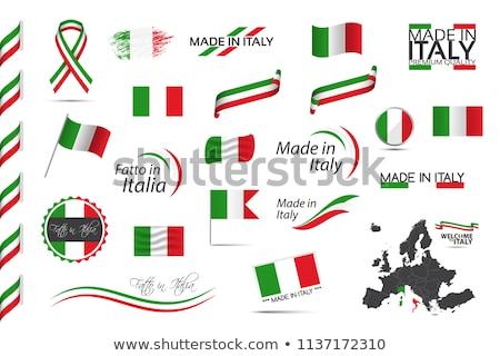 Stok fotoğraf: İtalya · bayrak · ikon · yalıtılmış · beyaz · bilgisayar