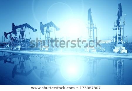 Stockfoto: Oliebron · blauwe · hemel · olie · zon · zonsondergang · landschap