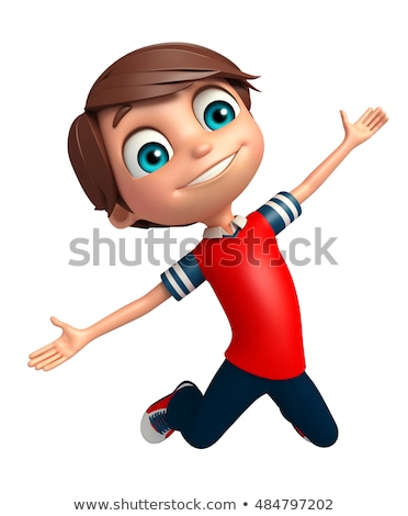 jumping 3d boy stock photo © vectomart
