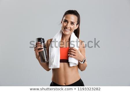 fitnessz · fiatal · nő · víz · törölköző · fehér - stock fotó © CandyboxPhoto