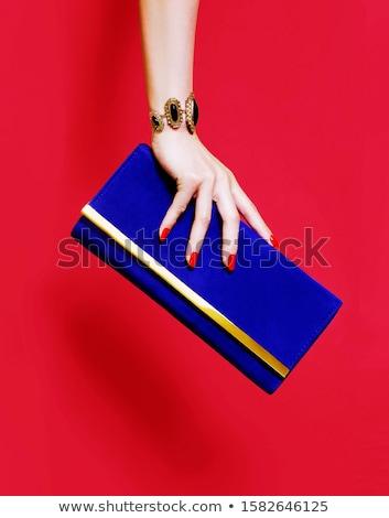 lány · pénztárca · érmék · pénz · fehér · háttér - stock fotó © experimental