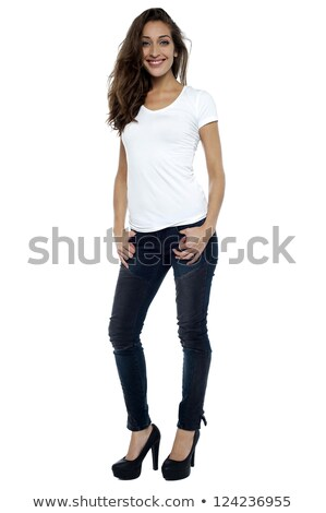 Stylish model wearing stilettos and striking a pose Stock photo © stockyimages