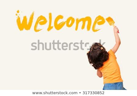 ragazza · iscritto · benvenuto · business · suit · parola - foto d'archivio © a2bb5s