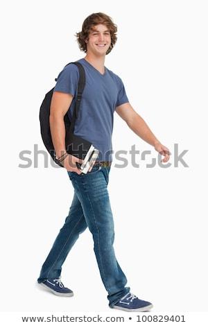Férfi diák hátizsák tart könyvek sétál Stock fotó © wavebreak_media