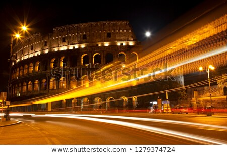 colosseum street abstract night moon rome italy stock photo © billperry