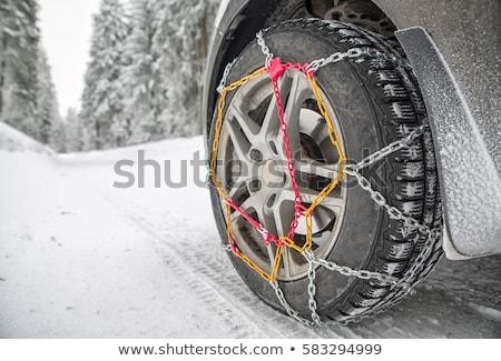 kar · zincirleri · traktör · tekerlekler · soyut · Metal - stok fotoğraf © eltoro69