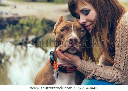 Beautiful Woman and Pit Bull Stock photo © piedmontphoto