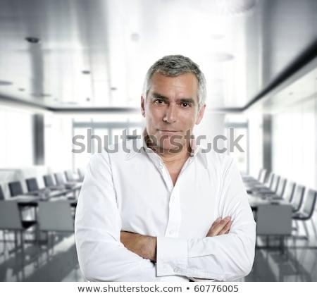 üzletember idős ősz haj szakértelem férfi izolált Stock fotó © lunamarina