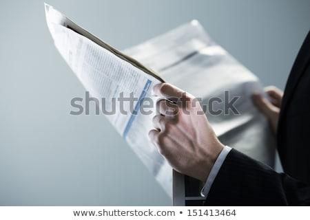 adam · gazete · boyama · okuma - stok fotoğraf © zzve
