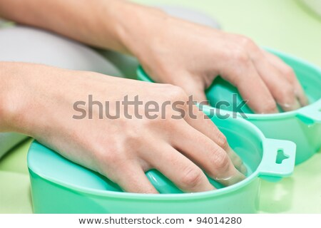 process of steaming hands before manicure Stock photo © podsolnukh