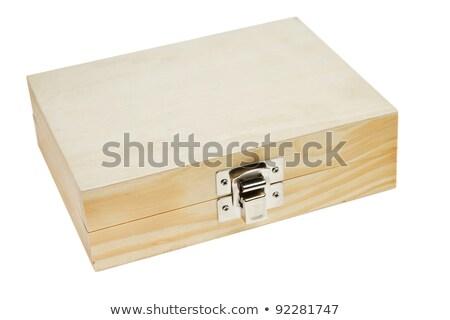 zárolt · doboz · fából · készült · sárgaréz · zár - stock fotó © 805promo