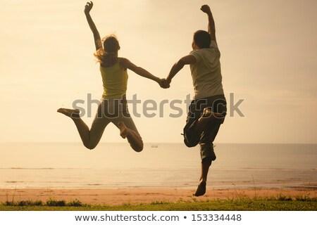 ストックフォト: ジャンプ · 飛行 · 人 · シルエット · ベクトル · 女性