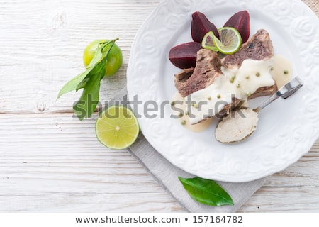 Beef With Beetroot And Horseradish Sauce Stok fotoğraf © Dar1930