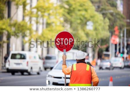 Devagar assinar estrada pintar fundo rodovia Foto stock © latent