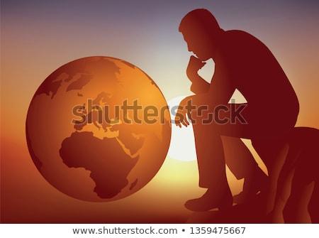 gondolkodó · sziluett · férfi · póz · kérdő · pszichológia - stock fotó © krisdog