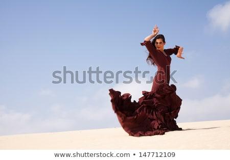 flamenco · jelmez · lány · spanyol · ruha · fehér - stock fotó © elnur