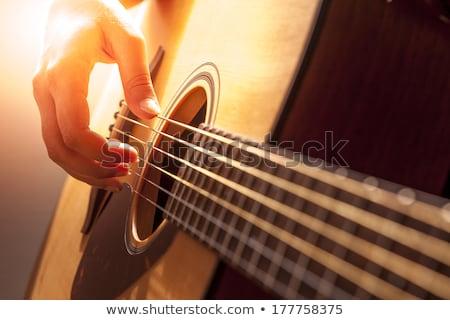violão · mulher · jogar · etapa · guitarra · microfone - foto stock © rpcreative
